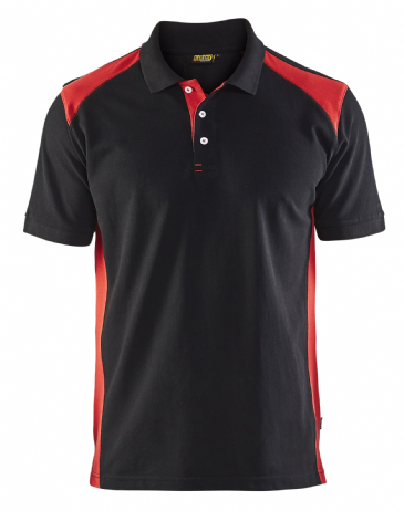 Blaklader 3324 Pique 2 Colour Polo Shirt (Black/Red)